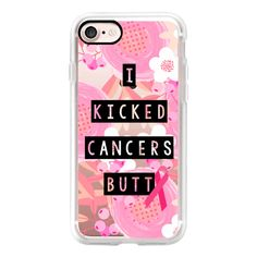 I Kicked Cancers Butt Block Floral Breast Cancer Awareness  - iPhone 7... ($40) ❤ liked on Polyvore featuring accessories, tech accessories, iphone case, iphone hard case, floral iphone case, apple iphone cases, iphone cover case and iphone cases