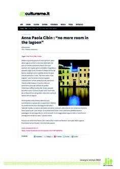 #AnnaPaolaCibin su culturame.it: la nostra rassegna stampa. #Venezia #arte