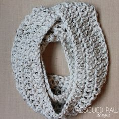 Tweed Chunky Crochet Infinity Scarf Neck warmer by RescuedPaw