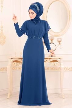 Women's Gemmed Saxe Evening Dress – Hijab Fashion 2020 Hijab Evening Dress, Hijab Dress Party, Evening Dresses, Hijab Fashion, Fashion Dresses, Muslim Women Fashion, Abaya Designs, Muslim Dress, Moda Emo