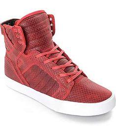 Supra Skytop zapatos repujados en color cardenal
