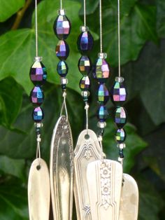 Silverware Wind Chimes | Wonderful silverware wind chime with vintage beads by TheQE2