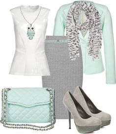 Office work outfit mint and gray Classy Outfits, Outfits For Teens, Chic Outfits, Fashion Outfits, Womens Fashion, Fashion Trends, Office Outfits, Look Office, Look Formal