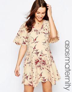 86381437358e5 ASOS Maternity Skater Dress in Wallpaper and Bird Print Asos Maternity, Maternity  Fashion, Maternity