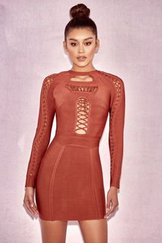 Lavira Copper Looped Bandage Dress