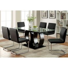 Furniture of America Olgette Contemporary High Gloss Dining Table