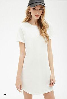 White cuffed sleeve tee shirt dress Plain but cute