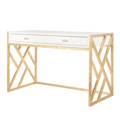 "This desk is both elegant and stylish! With a shiny white lacquer finish and inspiring gold leaf base and gold leaf hardware, this desk makes an excellent statement piece. The Cordelia measures 49.5""W"