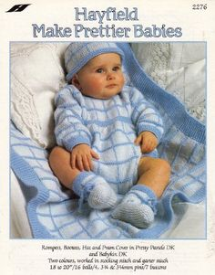 """Hayfield Baby's Rompers, Bootees, Hat and Pram Cover Knitting Pattern: To fit chest 18"""" 20"""" 46cm 51cm Pram Cover size 26.5"""" 67cm by Hayfield http://www.amazon.co.uk/dp/B004RBO2K2/ref=cm_sw_r_pi_dp_ikirwb07RKY4M"""