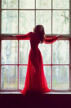WOW ...Long sleeve red dress