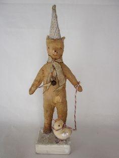 Nostalgic Folk Art,Carol Roll, Old Bear and Bird, Moonlight Walk, paper mache sculpture