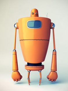 A robot character with a demo rig.