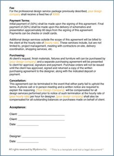 How To Write An Interior Design Letter Of Agreement This Is Only One Example A Contract And Depending On Your Business You May Need Addtional Sections Such