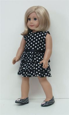 "BLACK & WHITE POLKA DOT DRESS - 18"" Girl Doll Clothes - An American Boutique #18dollclothes"