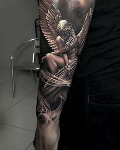 25 Most Amazing Forearm Tattoo Designs for Men 2019 People are always looking for new ways to express themselves and their styles. Forearm tattoos are among the most popular choice of tattoo these days. Cross Tattoo Designs, Tattoo Sleeve Designs, Tattoo Designs Men, Cross Designs, Angel Sleeve Tattoo, Angel Tattoo Men, Chicano Tattoos Sleeve, Realistic Tattoo Sleeve, Arm Sleeve Tattoos