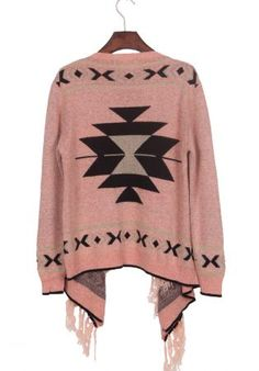 Pink Black Tribal Geometrical Pattern Fringe Hem Cardigan - Sheinside.com