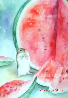 8x10in А5 А4 Watercolor PRINT  hamster and watermelon   Art Print (15.00 USD) by VenusSapiens