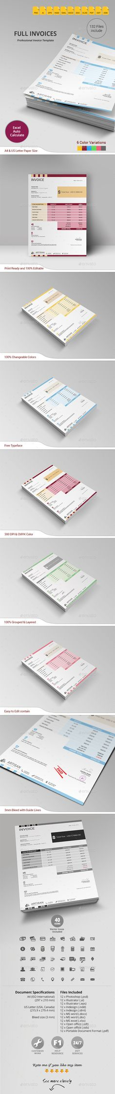 Simple and Clean Invoice Invoice template, Proposals and Photoshop - graphic design invoice sample