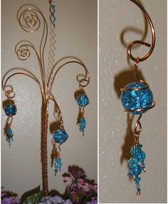 Image detail for -Copper Wire Glass and Beads Garden Yard Art by SparklingButterfly