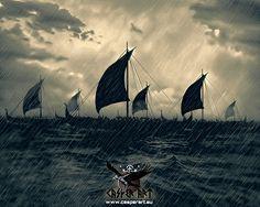 Drakkars by thecasperart Viking Life, Viking Art, Viking Ship, Viking Books, Germanic Tribes, Viking Culture, Old Norse, Norse Vikings, 11th Century