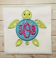 Monogram Sea Turtle Applique Design Machine Embroidery INSTANT DOWNLOAD - not hot pink obviously