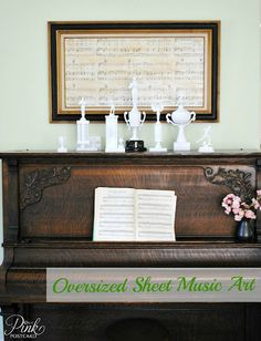 sheet music wall art  - i need to find some for the music room