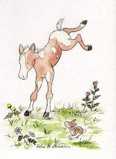 Baby Nursery Wall Art-  Children's Horse Wall Art- Baby Horse-  Kick Up Your Heels - 5X7 Archival PRINT.