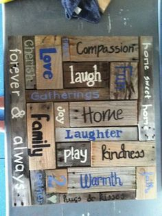 Another version of the inspiration wall. Pallet sign