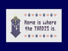 Home is where the TARDIS is - Doctor Who inspired PDF cross stitch pattern. $4.00, via Etsy.