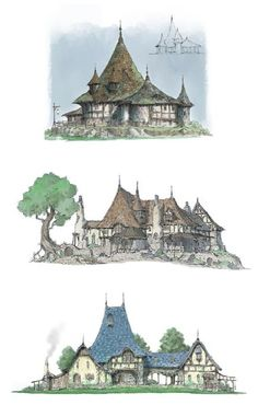 Alshani curving roofs [ArtStation - medival houses , He NN] Fantasy City, Fantasy House, Fantasy Places, Fantasy World, Dungeons And Dragons, Medieval Houses, Fantasy Concept Art, Landscape Concept, Fantasy Setting