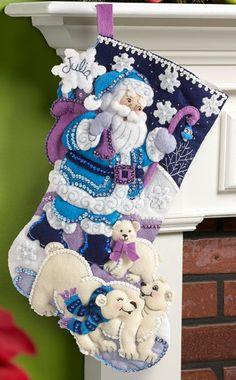 Ártico de Bucilla Santa 18 media de la Navidad fieltro