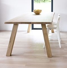 WILD custom table with natural shaped edge. Colour: Pure. - www.miloni.pl/en MILONI: wooden table, oak table, natural wood table, table design, furniture design, modern table