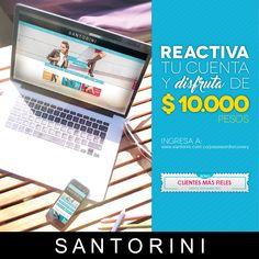 Si ya eras una de nuestras clientes en la anterior TIENDA EN LÍNEA REACTIVA tu cuenta en www.santorini.com.co/passwordrecovery y recibe un bono de $10.000 pesos. --- Bono válido hasta el 15 de Marzo de 2016 ---