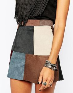 Milk It | Milk It Vintage Skirt In 70s' Patchwork Suede at ASOS