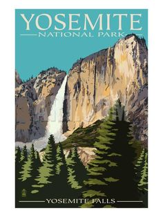 Yosemite Falls - Yosemite National Park, California Art Print by Lantern Press at Art.com