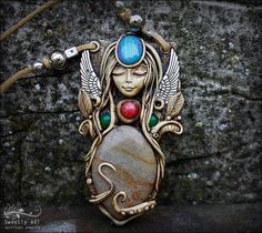 FREE SHIPPING Clay goddess pendant Fairy necklace by SweetlyART