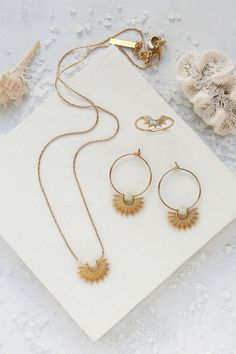 S/S Collection Jewelry by Shlomit Ofir Circle Earrings, Round Earrings, Leaf Earrings, Statement Earrings, Gold Necklace, Hoop Earrings, Boho Jewelry, Jewelry Design, Santorini Sunset