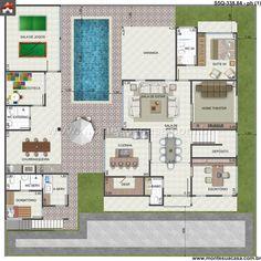 Planta de Sobrado - 5 Quartos - 338.84m² - Monte Sua Casa => mais uma ideia legal pra uma pousada!
