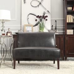 Inspire Q Upholstered Loveseat - Espresso | from hayneedle.com Brown Leather Loveseat, Leather Sofa, Couch And Loveseat, Sofa Chair, Settee, Living Room Sofa, Living Room Furniture, Studio Furniture, Best Sofa
