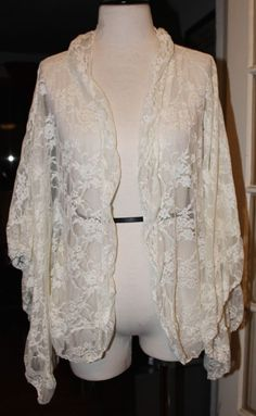 Free People Ivory Lace Bohemian Open Cardigan Jacket Blouse One Size Ruffled #FreePeople #KnitTop