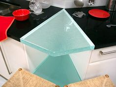 "1 1/2"" Fusion Glass Countertop, Natural Clear Color, Classic Texture"