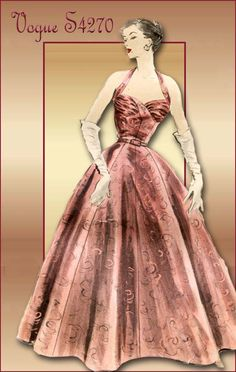 Vogue Special Design S-4270-Glam 1950s Evening Gown with Halter Bodice