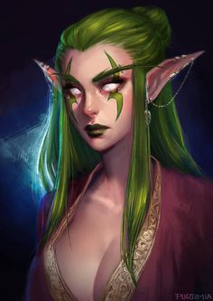 Concusses Two Green Wood Ridges, Elfen, … - Fantasy Figuren Anime Art Fantasy, Dark Fantasy Art, Elfen Fantasy, Fantasy Women, Fantasy Girl, Fantasy Artwork, World Of Warcraft, Art Warcraft, Fantasy Character Design