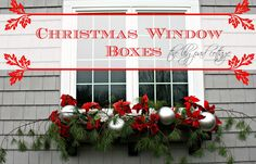 Christmas Window Boxes - The Lilypad Cottage Blue grocery store bouncy balls spray painted silver.
