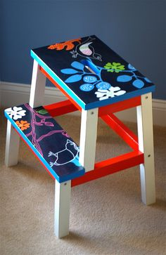 Kinderzimmer Simple Ikea hacks only with color: IKEA BEKVÄM stool - hardly recognizable! Hand Painted Furniture, Ikea Furniture, Upcycled Furniture, Bekvam Stool, Ikea Bekvam, Diy Furniture Renovation, Ikea Stool, Painted Stools, Diy Interior