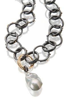 """Sydney Lynch: Oxidized silver and 18k gold chain with a big, fat pearl. 20"""" http://sydneylynch.com"""