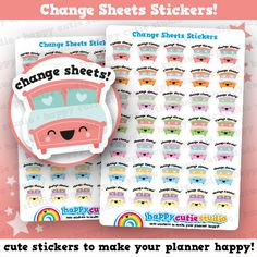 One sheet of 35 cute colourful little change sheets bed stickers, perfect for your planner! • Stickers measure approx. 0.66 x 0.6 inches • Sticker sheet measures 4 x 5.5 inches  Printed onto matte paper, each sticker is kiss-cut and ready to peel and stick straight into your planner!  You will receive your order in a board-backed envelope, and the stickers will be inside a waterproof sleeve.  Please note: colours may vary slightly upon printing due to different computer screens.  ----  We ❤…