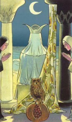 De hogepriesteres De niet ontsluierde toekomst, Stilte, Volharding, Genegenheid, Samenwerking, Geduld.