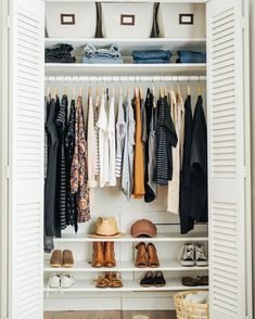 I wish this was my closet; Simple, uncluttered, minimal. I've been dreaming of a capsule wardrobe lately. Maybe as spring comes around I'll give it a shot! Anyone else ever tried this?  .  .  .  This closet belongs to @caroline_joy   #capsulecloset #simplify #springcleaning