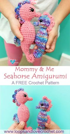 Mommy and Me Seahorse Amigurumi Loops & Love Crochet : This Mommy & Me Seahorse set works up quickly and turns out so adorable! They are the perfect size for small hands, cuddling, and playing! Check out the free pattern by Loops and Love Crochet. Amigurumi Animals, Crochet Animal Amigurumi, Crochet Gratis, Crochet Amigurumi Free Patterns, Crochet Animal Patterns, Stuffed Animal Patterns, Crochet Animals, Crochet Dolls, Crochet Stuffed Animals